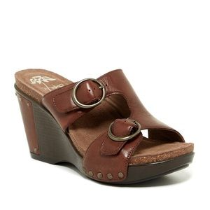 Dansko Fern Sandal Leather Buckle Wedge Platform